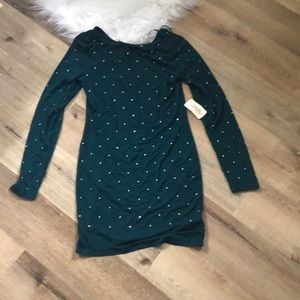 Green Long Sleeve Dress, NWT